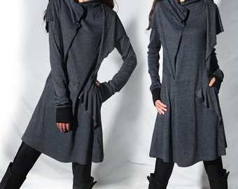Warrior of the Wind - extravagent boho cotton tunic / layered cotton hoodie / thumb hole tunic dress / greenery hoodie (Y31188z)