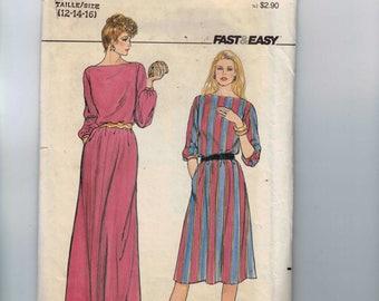 1980s Vintage Sewing Pattern Butterick 4335 Misses Easy Dress Size 14 Bust 36 UNCUT  80s