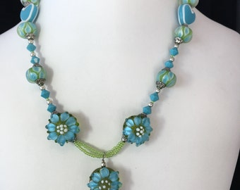 Turquoise and Green Flower Necklace