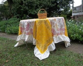 Fall Patchwork Tablecloth 72 x 72 Ruffled Table Cloth Handmade Tablecloth Rustic Wedding Decorations Western