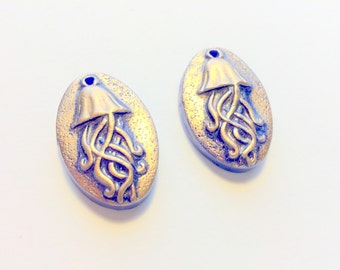Handmade Jellyfish Beads Blue and Copper Polymer Clay Jellyfish Beads