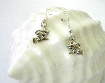 Cute Witch Earrings Silver Color Dangle Earrings