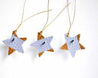 Blue Print Star Tags {10} | Kraft Star Tags | Japanese Paper Tags | Christmas Star Tags | Holiday Star Tags | Japanese Star Tags
