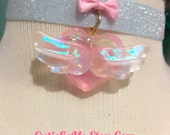 Holographic Angel Wings Heart And Bow Ribbon Choker Necklace