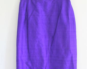 vintage silk skirt // 80's purple pencil skirt