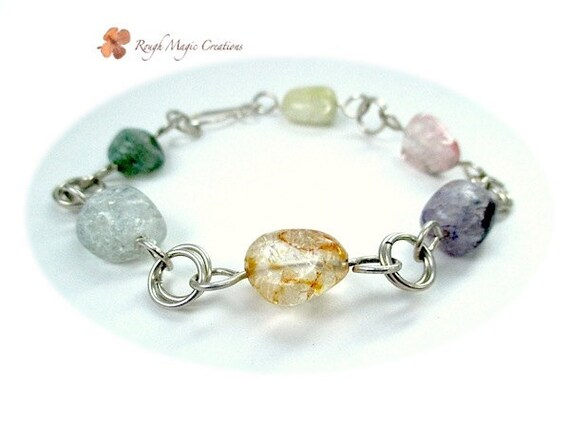 Spring Colors Bracelet, Chunky Gemstones, Sterling Silver, Pink Green Purple, Aquamarine, Pineapple, Ice Flake Quartz Semi Precious Stones