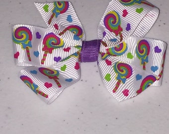 Lollipops and Hearts Hair Bow Small 3 inch Pinwheel Boutique Bow