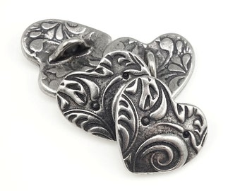 Silver Heart Button Clasp Findings Antique Pewter Dark Antique Silver Buttons TierraCast AMOR Button Findings Valentine's Day Jewelry P1341