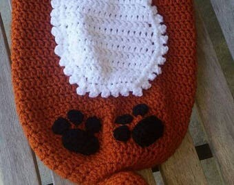 Crochet Fox Cocoon with Hat, Fox Blanket, Sleeping Bag, Photo Prop, made to order