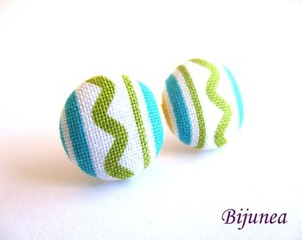 Blue Stripes earrings - Blue stripe stud earrings - Green posts - Stripes studs - Colors post earrings sf1344
