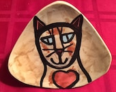 Cat plate triangle Sweet heart Valentine gift candy serving feline design fuctional decor handmade stoneware pottery art