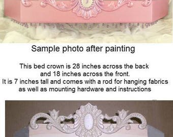 Bed crown in wood , DIY, unpainted, wood bed crown, Countess style, Wood Canopy
