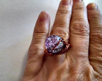 Lilac Lavender Light Purple Glass Galaxy Bead Wire Wrapped Ring Fun Beautiful Ring Size 4 1/2