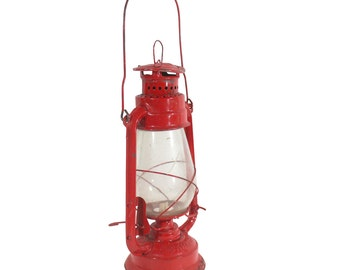 Indian Lantern | Red Metal | Oil Lamp | Vintage Home Decor | Off Grid Lighting | Modern Farmhouse