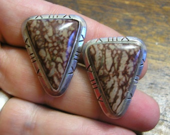 Navajo Earrings, Modern Native American, Sterling Silver, Brecciated Jasper, Handmade & Artist Signed CHEE (E4)