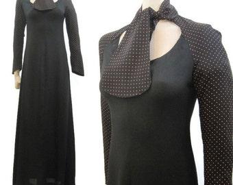 Vintage 70s Dress Ascot tie neck Maxi Black Orange Polka dot Crepe S