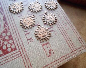 6 antique copper sun shunshine charms - destash jewelry supplies