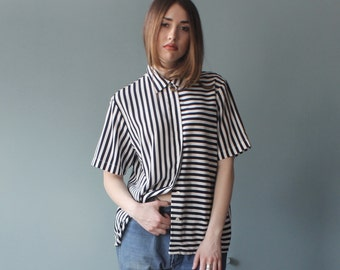 navy stripe top   short sleeve blouse   1980s small - medium