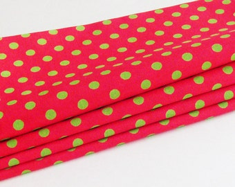 Christmas Polka Dots Cotton Napkins / Set of 4 / Green & Red December Holiday Season Eco-Friendly Table Decor / Unique Gift Under 50
