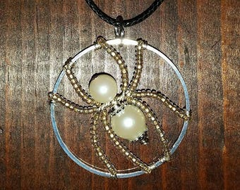 Faux Pearl Spider Pendant