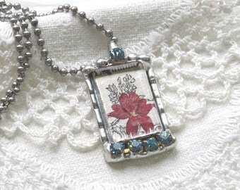 Vintage Dictionary Flower Collage Pendant Necklace with Robin's Egg blue Rhinetones- Soldered Jewelry - Nori Girl