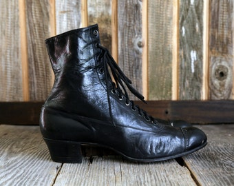 SALE- Antique Victorian Shoes . Black Leather Ankle Boots