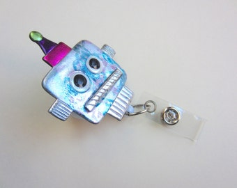 Robot badge reel retractable alligator clip  or belt clip