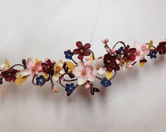 floral hair vine, bridal hair piece, burgundy headband, wedding headpiece, burgundy and gold wedding, floral hair piece,  navy flower