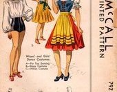1940s McCall 782 Vintage Sewing Pattern Girls and Misses Dance Costume, Gypsy Costume, Italian Costume Size 12 Bust 30