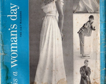 1950s Woman's Day 5076 FF Vintage Sewing Pattern Misses Pajamas, Nightgown, Robe, Peignoir, Negligee Size Medium