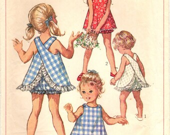 1960s Simplicity 8165 Vintage Sewing Pattern Infant or Toddler Playsuit, Sundress, Sleeveless Top, Bloomers Size 1