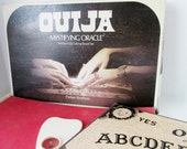 Ouija Board with Planchette, Mystifying Oracle, William Fuld Edition Talking Board Parker Brothers 1972 Sun Moon Stars ocult spirit