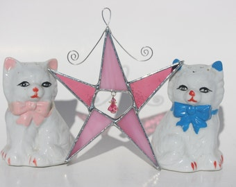 Pink stained glass wish upon a star ornament suncatcher
