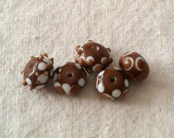SALE - 14 x 10 mm Glass Brown, Tan, and White Rondelles/Beads - Set of 5