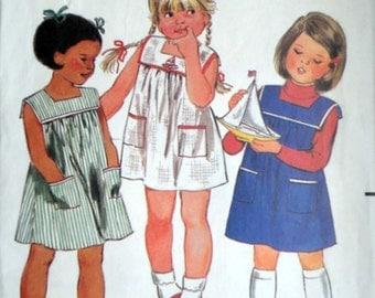 Vintage 80's Butterick 3686 Sewing Pattern, Girls/Toddler Dress, Size 3, Fast & Easy, Summer Dress
