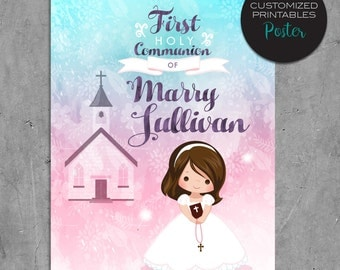 First Communion Poster. Custom Printable Holly Communion Design with watercolor background, pink blue religious greeting card.