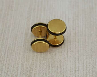 Gold Fake Plugs, Gold Faux Plugs, Faux Plug Earrings, Gold Faux Gauges, Faux Plugs, Rubber Ends, Surgical Steel, Screw Backs