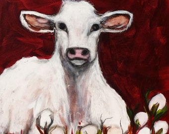 Curiosity, Cow and Cotton, Large Original Mixed Media painting, 20 x 30