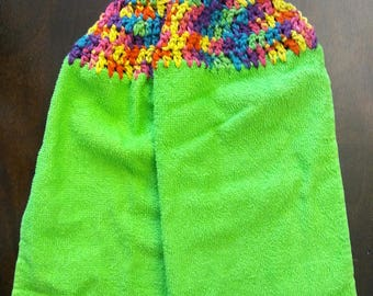 Full coverage baby apron bib burp cloth bright lime green rainbow childrens