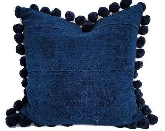 Solid Indigo Mudcloth Pillow with Pom Poms | JUSTIN 18x18