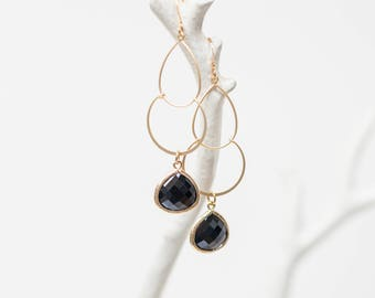 Double drop earrings, black glass, gold, teardrop, affordable, crystal, dangle, unique, beach, sea glass, jewelry, handmade in Santa Cruz
