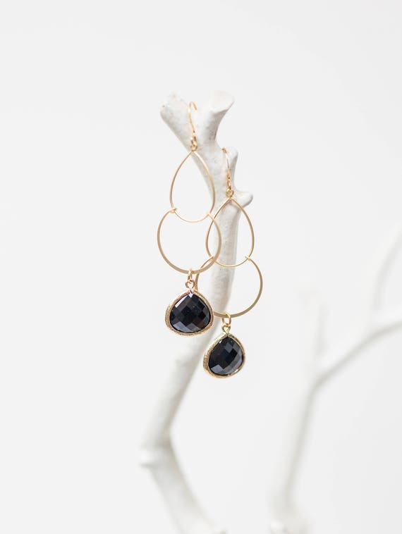 Black double drop earrings in gold