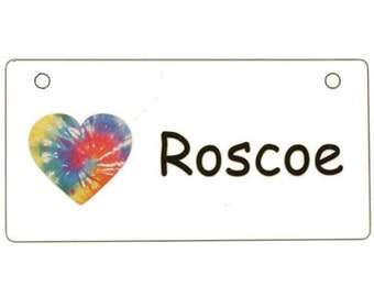 Tie Dye Heart Crate Tag Personalized with Your Dog's Name - Free Shipping