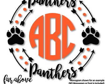 Panther Paw Monogram Frame (monogram NOT included) - SVG, DXF, png, jpg digital cut file for Silhouette or Cricut