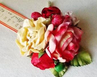 Strawberry Pink Vanilla Cream red roses Mixed bunch Vintage style Millinery Flower Bouquet