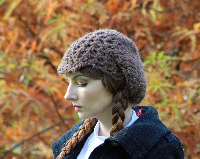 Brown Tam Hat and Fingerless Texting Gloves Set  Soft Warm Winter Accessory  Gift for Women or Men , Newsboy Hat