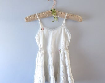 Vintage Childs Petticoat - 1950s Laros Childs White Cotton Slip Petticoat Size 4/5 - Child's White Pettislip