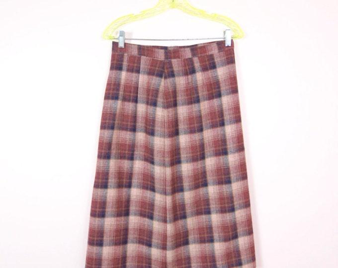 1970s Wool Skirt Wine & Navy Plaid M