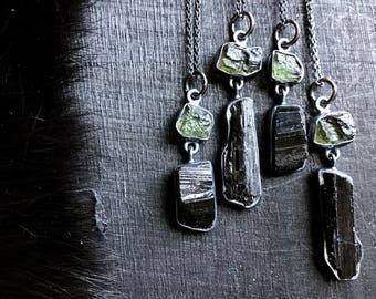 Moldavite necklace   Black tourmaline necklace   Moldavite pendant   taw tourmaline crystal necklace   Moldavite in silver