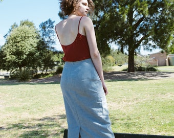 SALE - Skylark Linen Pencil Skirt in Dusk